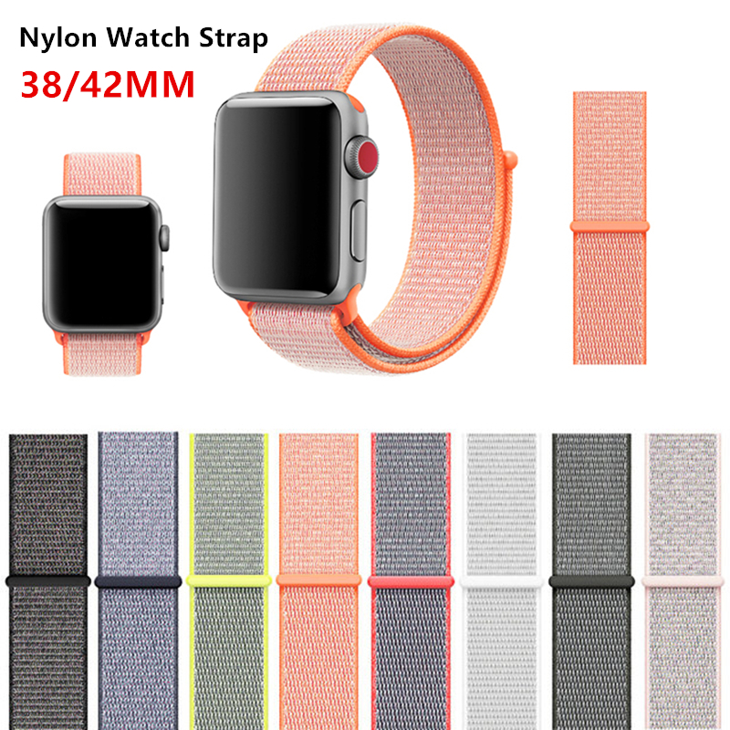 Latest Upgrade Woven Nylon Watchband Straps For iWatch Apple Watch Sport Loop Bracelet & Fabric Band 42mm 38mm Series 1 2 3