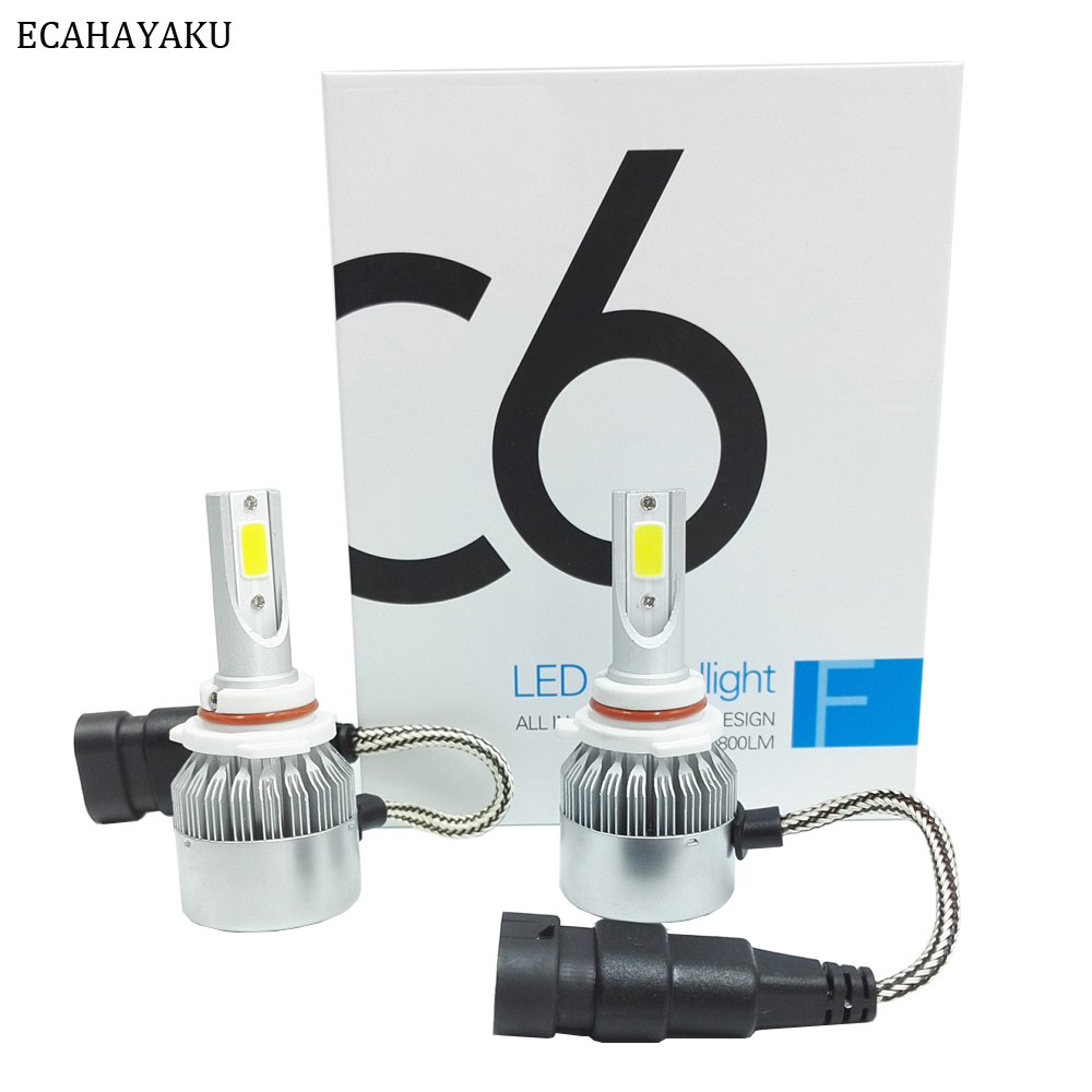 2 pcs Tout En Un C6 Voiture Led Phare H1 H3 H7 H11 H4 H13 9004 HB3 9006 9007 880 72 w 7600lm Par Paire 6000 K LED Voiture Ampoules Projecteur