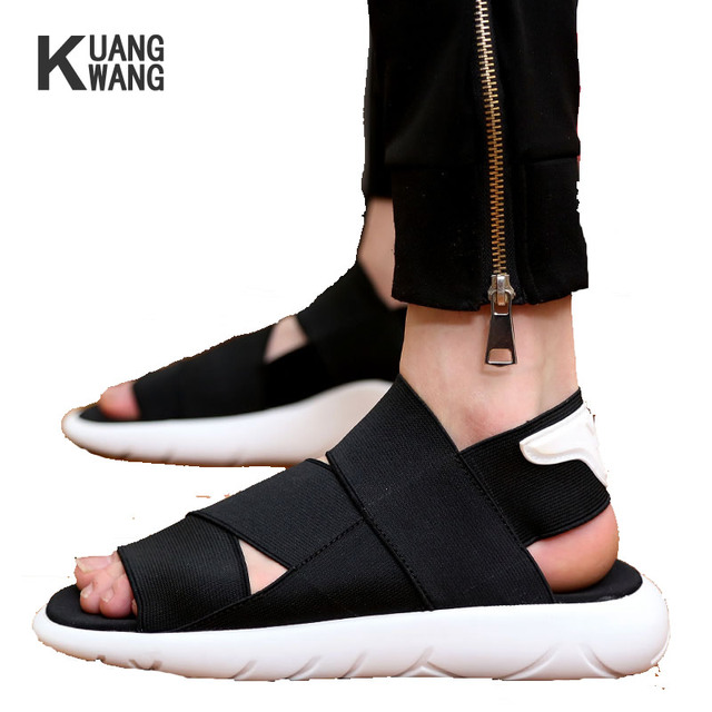 1f1cdc7ed1d New Style Top Quality Men Sandals Fashion Casual Shoes Cross ElasticBand Slippers  Open-toed Black