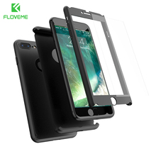 Luxury 360 Full Protective Plastic Phone Cases For iPhone 6 6s Plus 7 7 Plus 5 5s SE Case Cover Free Tempered Glass Film PC Capa