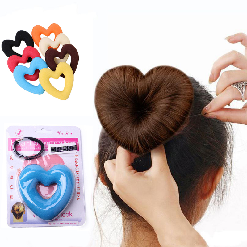 LOEEL Hair Donut Bun Heart Maker Magic Foam Sponge Hair Styling Tool Princess Hairstyle Hair Bands Hair Accessories For Women