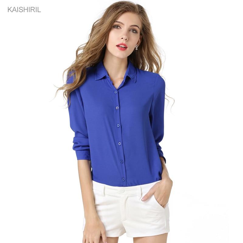 Moda Cor Sólida Manga Longa Chiffon Mulheres Blusas Blusa Camisa mulheres  Tops Camisas 2018 Verão Tops Plus Size Azul Branco blusa 741e9e1fd7bc3