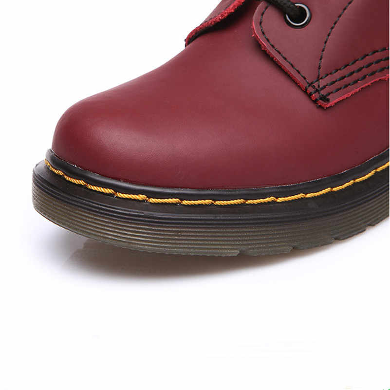 Hakiki deri Kadın Martin Çizme Moda Kış sıcak ayakkabı Kadın Motosiklet Ayak Bileği Kar Botları Kadın Botas mujer