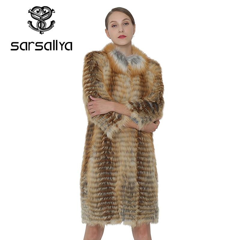 SARSALLYA Femmes Réel Renard Manteau Long Manteau Femmes Véritable Gilet D'hiver De Mode Chaud Renard Naturel Manteau De Fourrure Femme Vêtements Pardessus