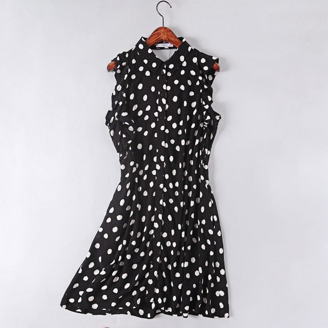 fc3c8d0b5f129 black white polka dot dress botton ruffle sleeveless mini dress-in ...