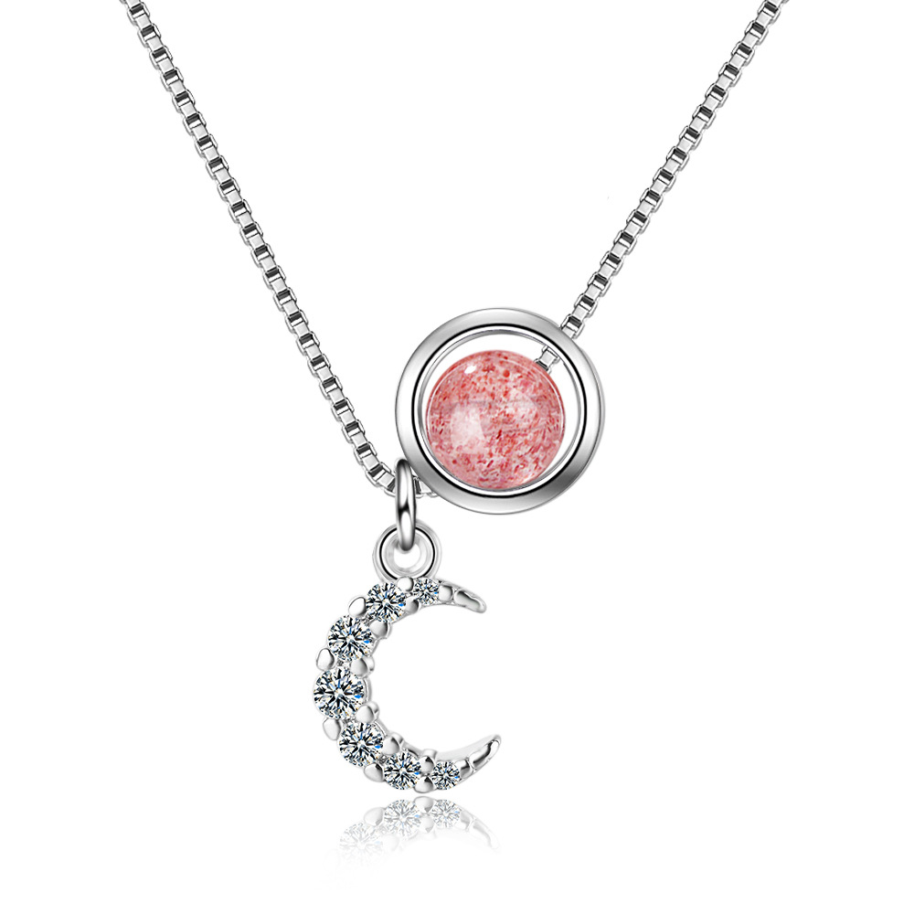 Charm Moon Star 925 Sterling Silver Natural Strawberry Crystal Pendants Necklaces for Women Girl Statement Collar Jewelry