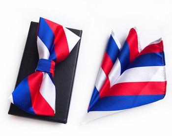2PCS Slim Striped Men Bow Tie and Handkerchief Set Bowtie Necktie Cravate Homme Noeud Papillon Man Corbatas Hombre Pajarita cartoon fish doodle print tie bowtie and handkerchief