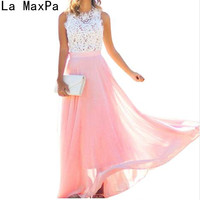 Sexy Sleeveless Pink Lace Patchwork Summer Dress Ladies Long Elegant Boho Beach Maxi Dress Women Party