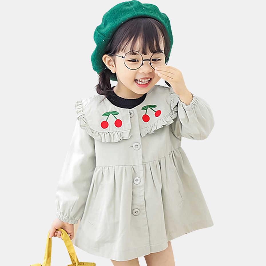 fd18a7fc7b7eede Осенние куртки для девочек куртки с длинными рукавами для девочек, Вишневое  пальто с вышивкой для