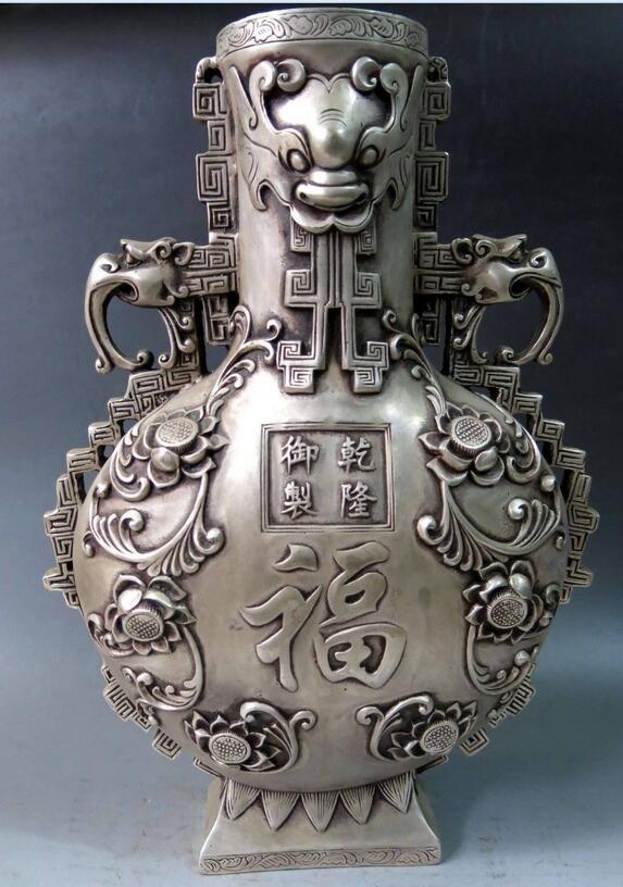 "67110358+++15"" China silver carved many elephant Longevity Vase Sculpture Statue"