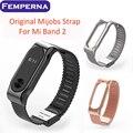 Alça de metal para xiaomi mi banda pulseira de aço inoxidável 2 alça banda banda inteligente substituir acessórios para mi 2 display oled de pulso