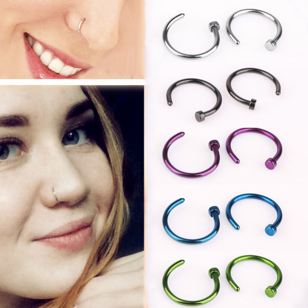 1 Pc Small Thin 18g Surgical Steel Open Fake Nose Hoop Ring C