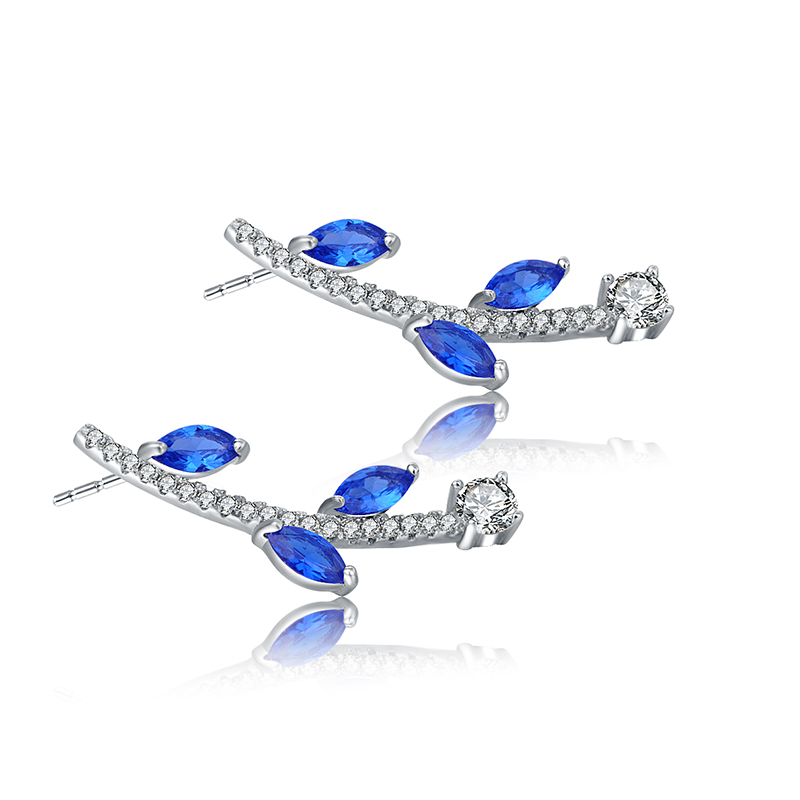 HeeZen Branch Shaped Earrings Stud Exquisite Gifts Elegant Blue Cubic Zirconia Stones Earring Brincos Stud Earrings for Women