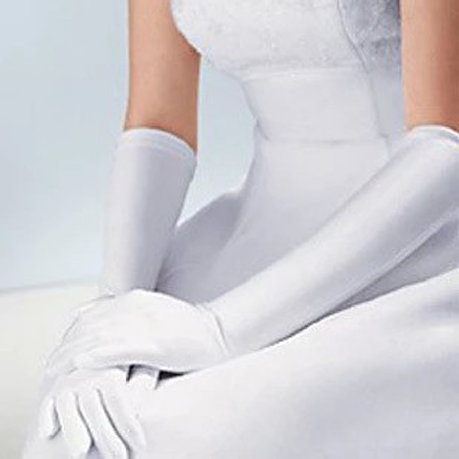 White Satin Gloves and Dress