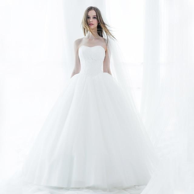 2016 Cute Lace White Ball Gown Wedding Dresses Princess Plus Size