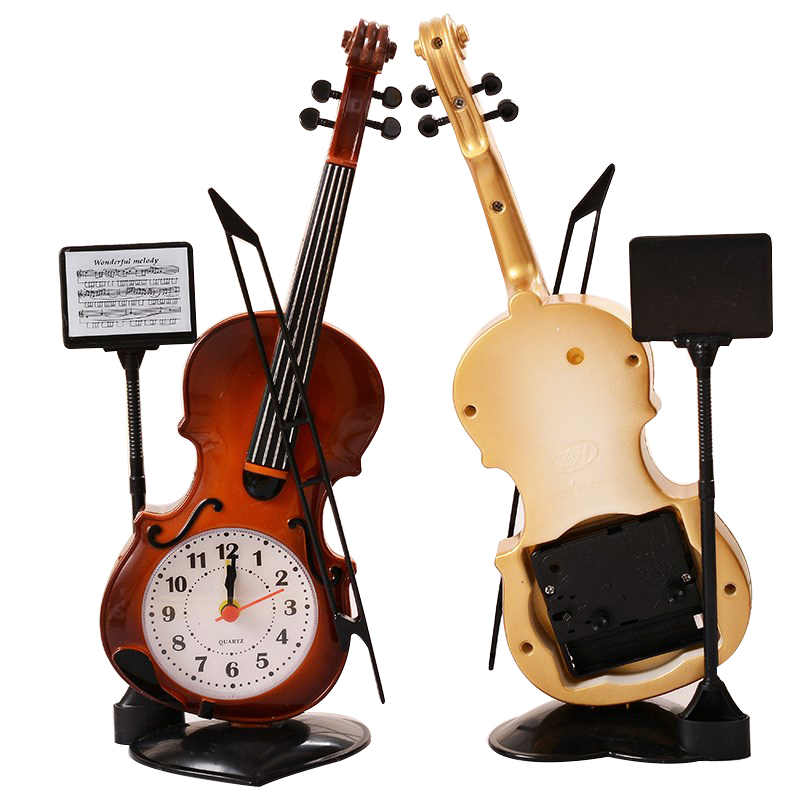 Elegant Vintage Style Violin Alarm Clocks Needdle Round Desktop Clocks For Kids Children Birthday Gift Violin Music Clock