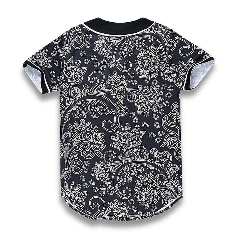 Camiseta de hip hop para hombres camiseta de béisbol camiseta Streetwear Unisex flores Totem 3D estampado Harajuku Punk Camisetas ropa