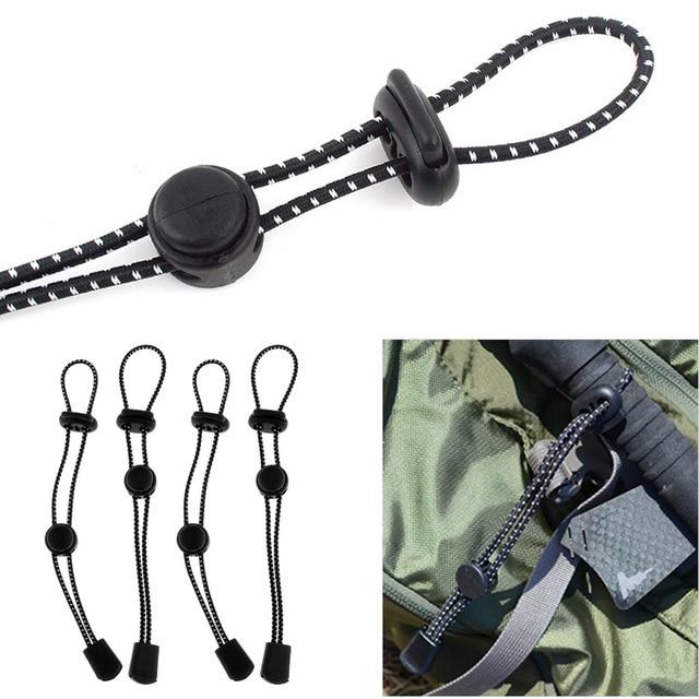 4Pcs Rucksack Sicherung Wandern Walking Stick Elastische Seil Halter Einstellbare Outdoor Klettern Zubehör 19cm Schwarz