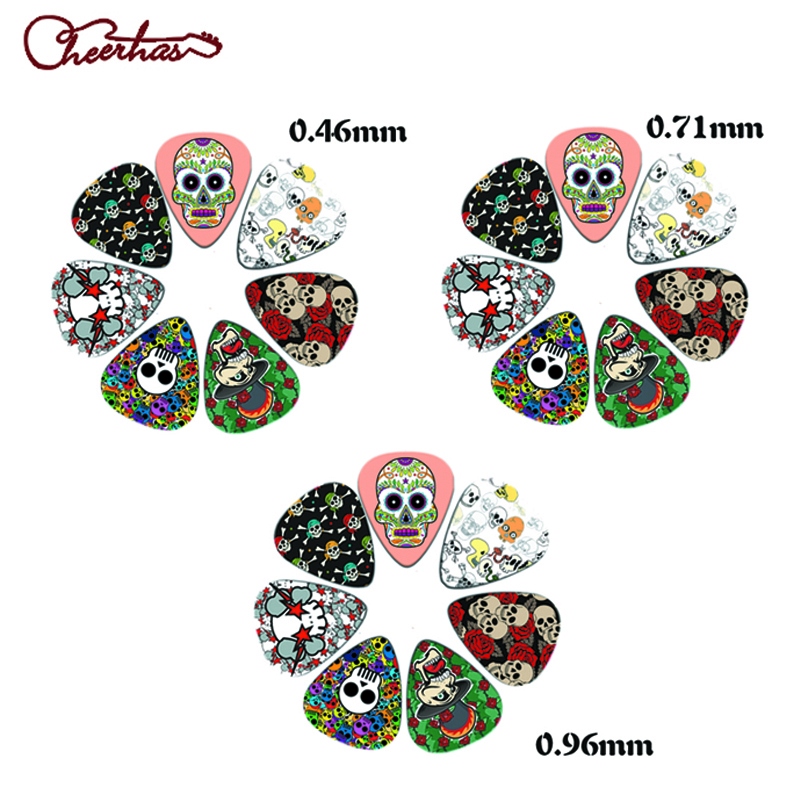 21pcs mix thin medium heavy dark skull and color skull design guitar pick plectrum for boy and girl