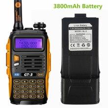 Baofeng GT-3 Mark II 3800 mAh Batterie VHF/UHF Double Bande FM Ham Two Way Radio Talkie Walkie Émetteur-Récepteur Scanner
