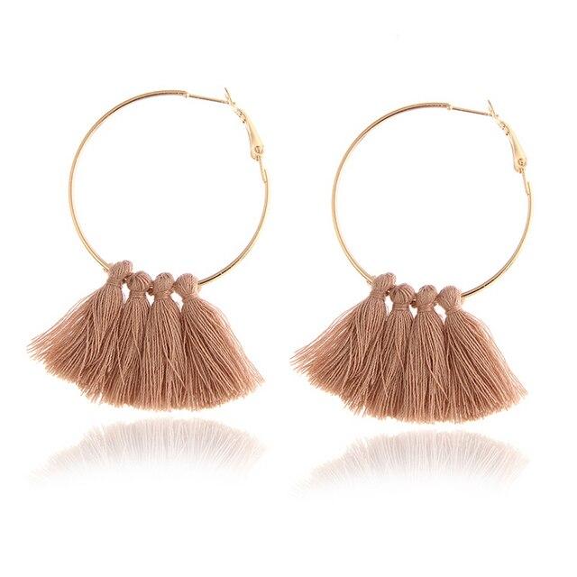 E072 Fashion Handmade Tassel Hoop Earrings For Women Bohemia Ethnic Black Red Kh