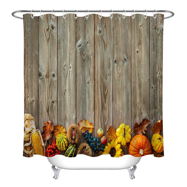 72 Bathroom Waterproof Fabric Shower Curtain 12 Hooks Bath Accessory Sets Autumn Harvest Boards For Halloween And Thanksgiving
