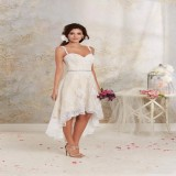 conew_2015 short high low wedding dresses with detachable skirt a line vintage bridal gowns spaghetti straps champagne ivory white crystals sash.1_conew2