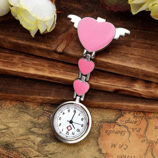 Nurse Pocket Watches Round Dial Quartz Angel Band Brooch Doctor Hanging Watches