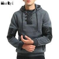 MarKyi 2017 New Arrival Patchwork Leather Skateboard Hoodies Men Hip Hop Sweatshirts Good Quality Long Sleeve