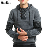 MarKyi 2017 New Arrival Patchwork Leather Skateboard Hoodies Men Hip Hop Sweatshirts Good Quality Long Sleeve