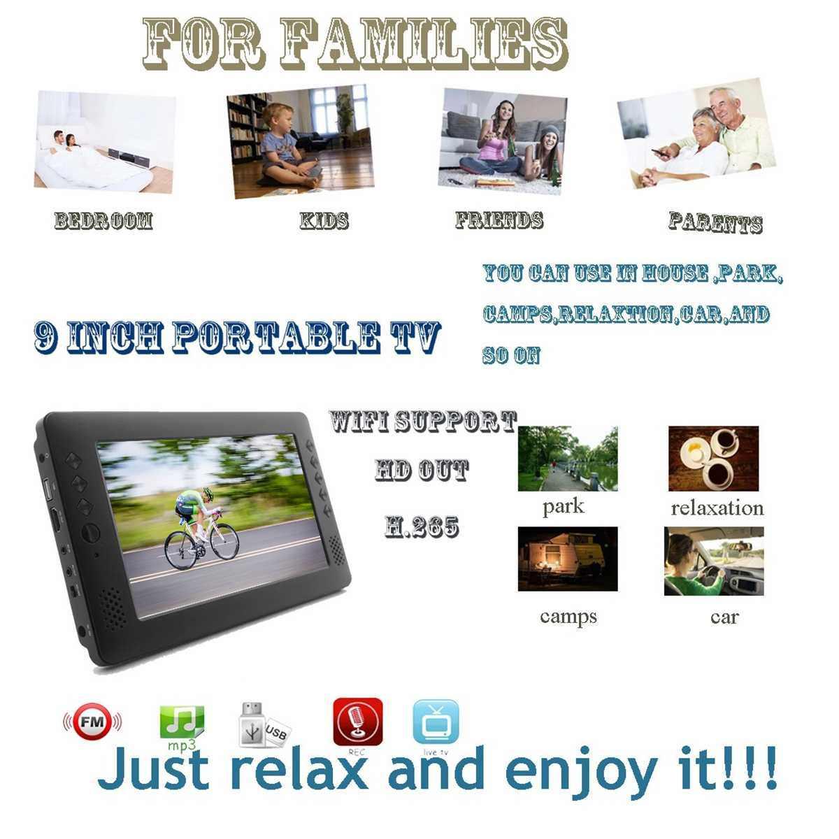9 дюймов Портативный мини ТВ DVB-T/T2 D ТВ FM HD 1080 P H.265 цифровой и аналоговый Led телевизоров Поддержка MP4 AC3 HDMI монитор