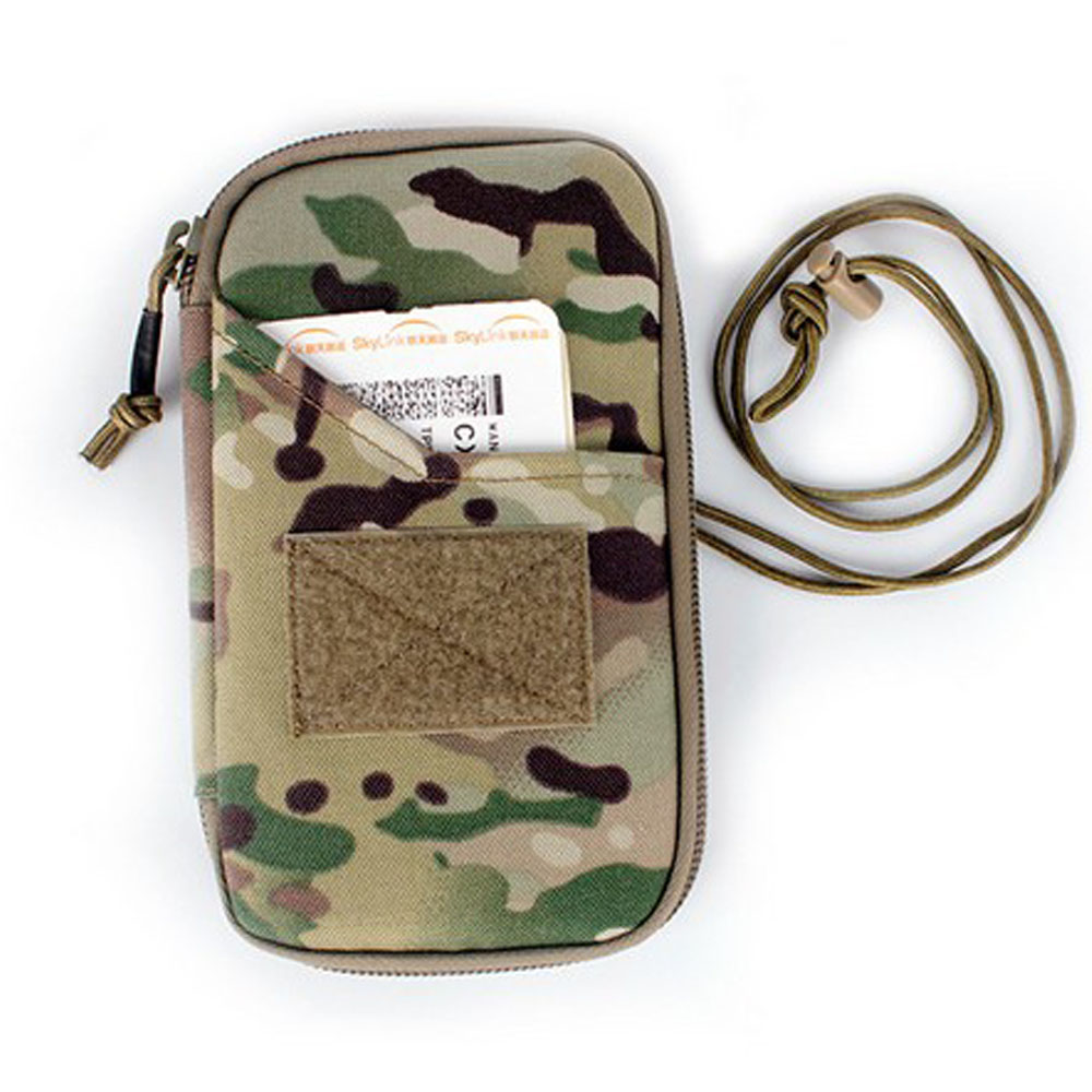 Portable Military Passport ID Card Holder 1050D Nylon Travel Camouflage Handbag Durable Army Cross Body Pouch