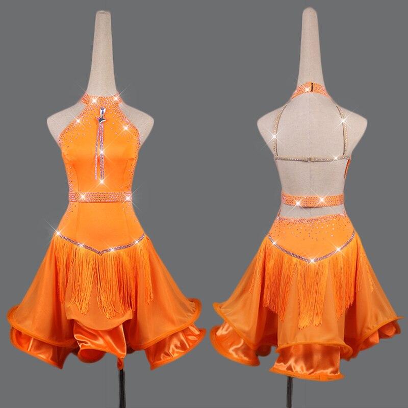 Rhinestone Latin Dance Dress For Women Orange Fringe Dress Gauze Dance Skirt Club Party Dancer Competitive Latin Dress VDB109