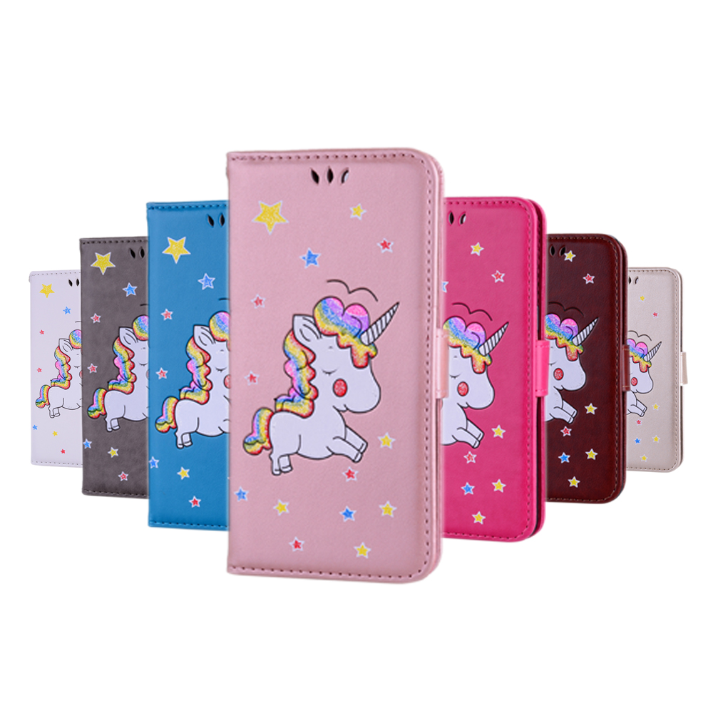 For Apple iPhone 8 Cute Unicorn Flip Book Cover PU Leather Phone Bag for iPhone 7 4.7 Case Fashion Glitter Pattern w/ Card Slot