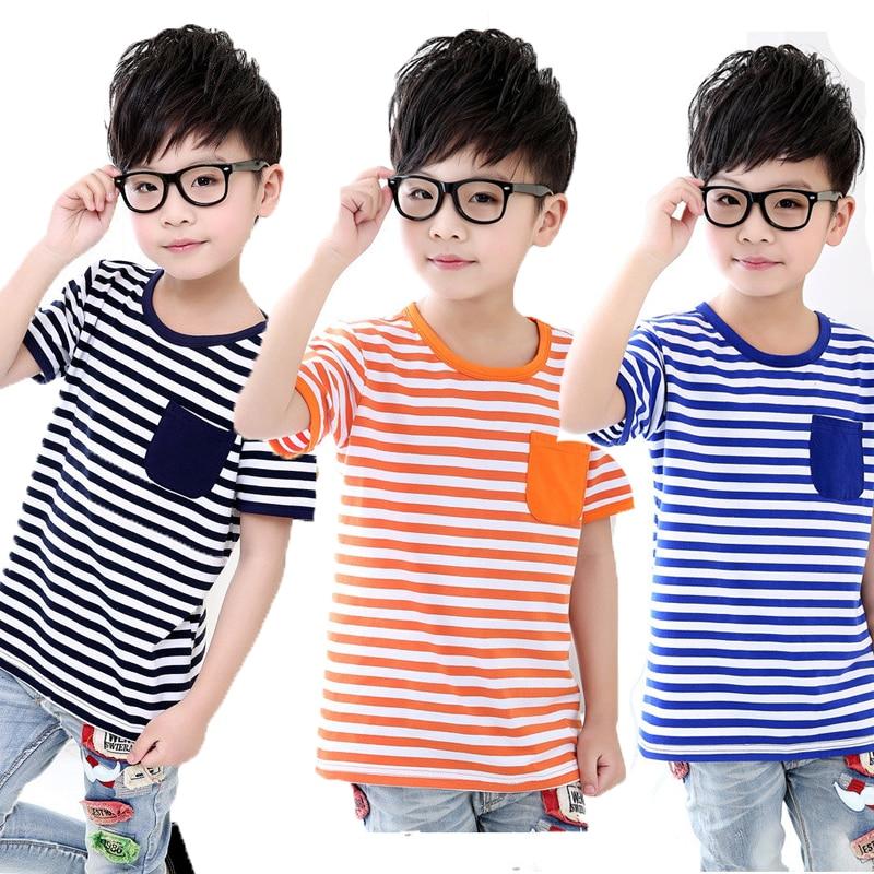 2019 verano niños camiseta del todo-fósforo de Deportes de ocio 3-11 años de edad los niños de algodón a rayas de tela de bolsillo de camisa del todo-fósforo