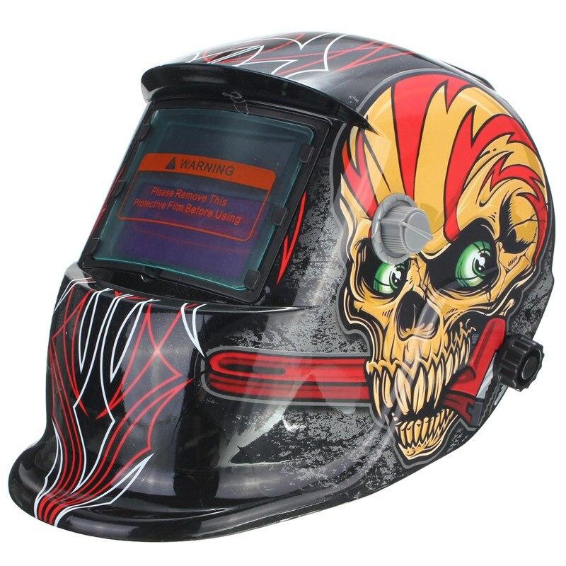 New Solar Welding Helmet Mask Auto-Darkening For Arc Tig mig grinding Skull km 1600 welding mask arc tig mig weld solar auto darkening helmet