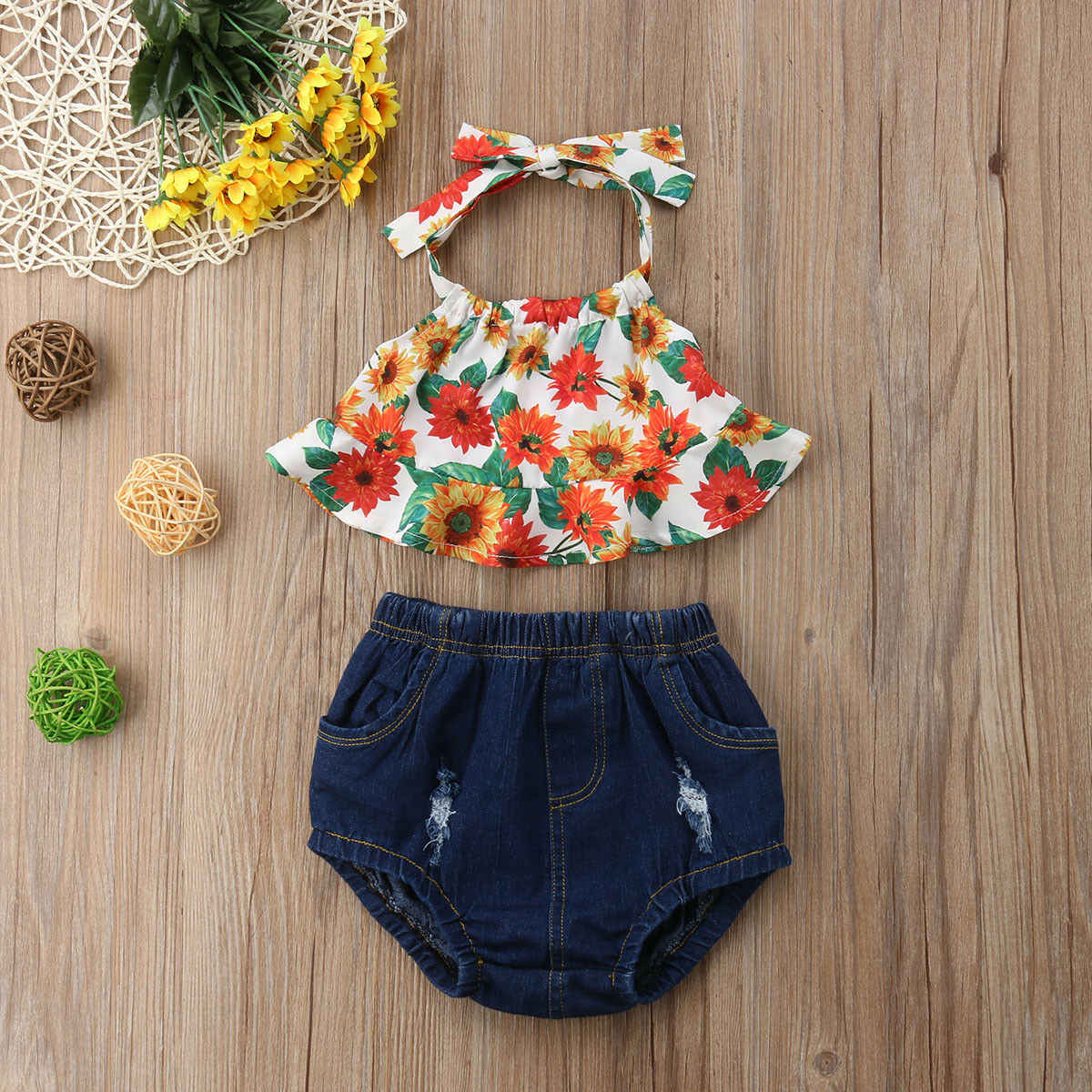 Summer 2PCS Baby Girls Sunflower Tops Dress Shorts Pants Outfits Clothes Set