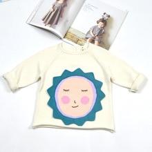 Sunflower Cartoon Children Kids Girls Sweaters Knitting Kids Clothing Outfit Coat