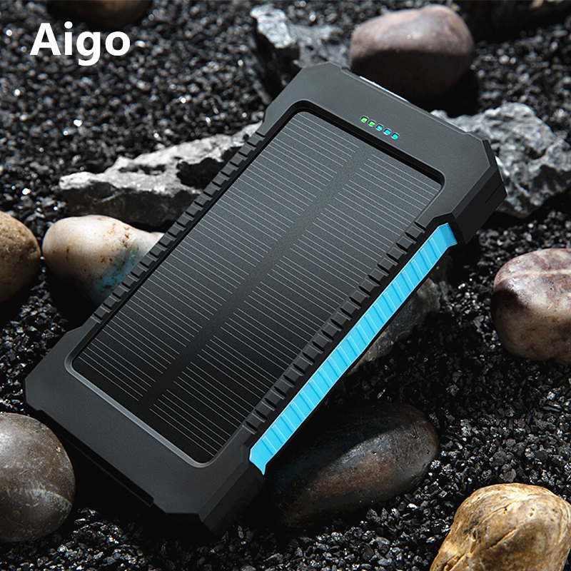 20000mAh Portable Dual USB Compact Waterproof Powerful LED Light Solar Power Bank External Battery Charger With
