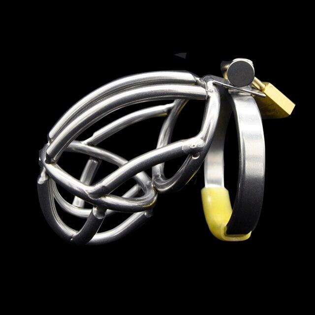 Acero inoxidable Male Chastity Device Jaula Del Martillo de Virginidad Lock Cerradura Del Pene Del Anillo Del Pene Adulto Juego Cinturón de Castidad Cock Ring A136