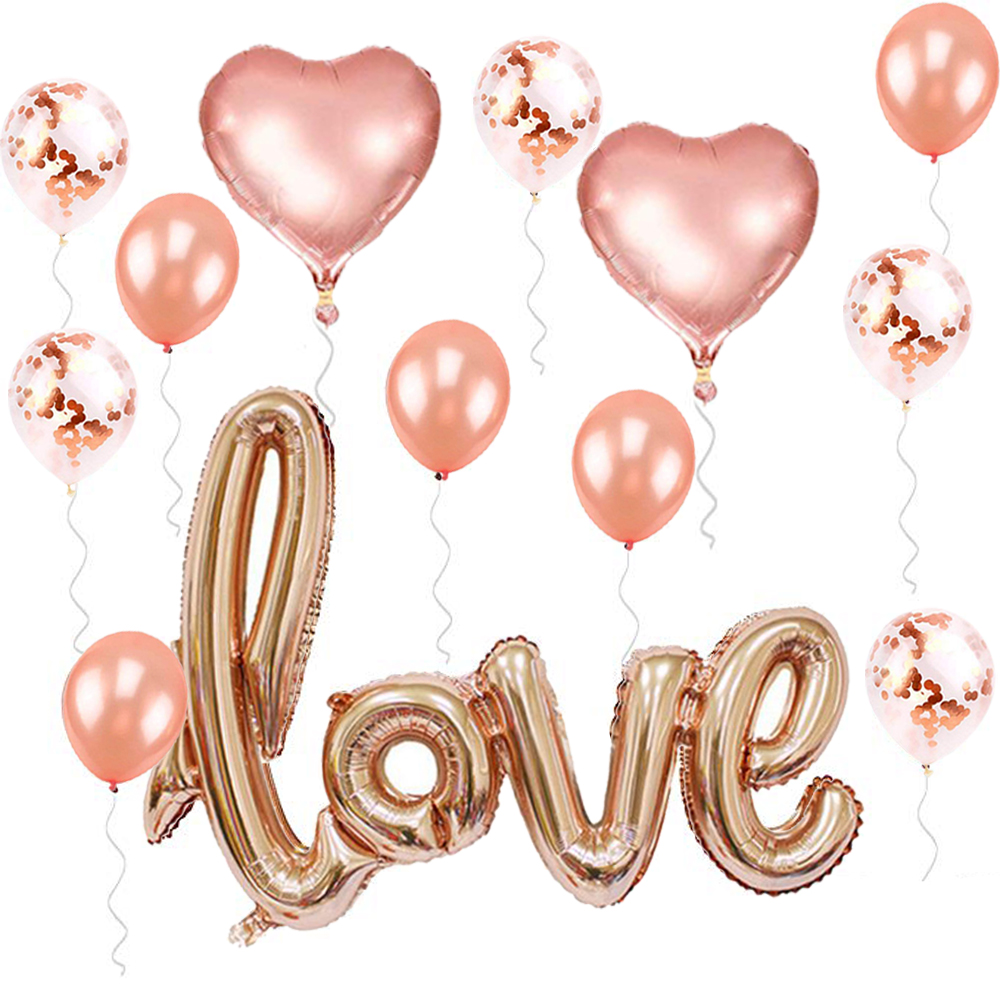 1st Wedding Anniversary Decoration Ideas At Home: Champagne LOVE Letter Foil Balloon Anniversary Wedding