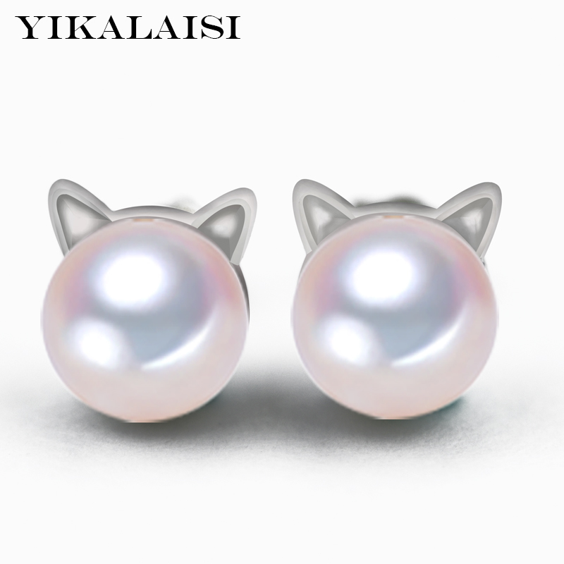 YIKALAISI 2017 new 925 sterling Silver Jewelry Pearl Earrings For Women natural Freshwater Pearl jewelry Earrings Wedding cat 2017 new 100% genuine natural long earrings fashion jewelry for women 925 sterling silver pearl jewelry double earrings gifts