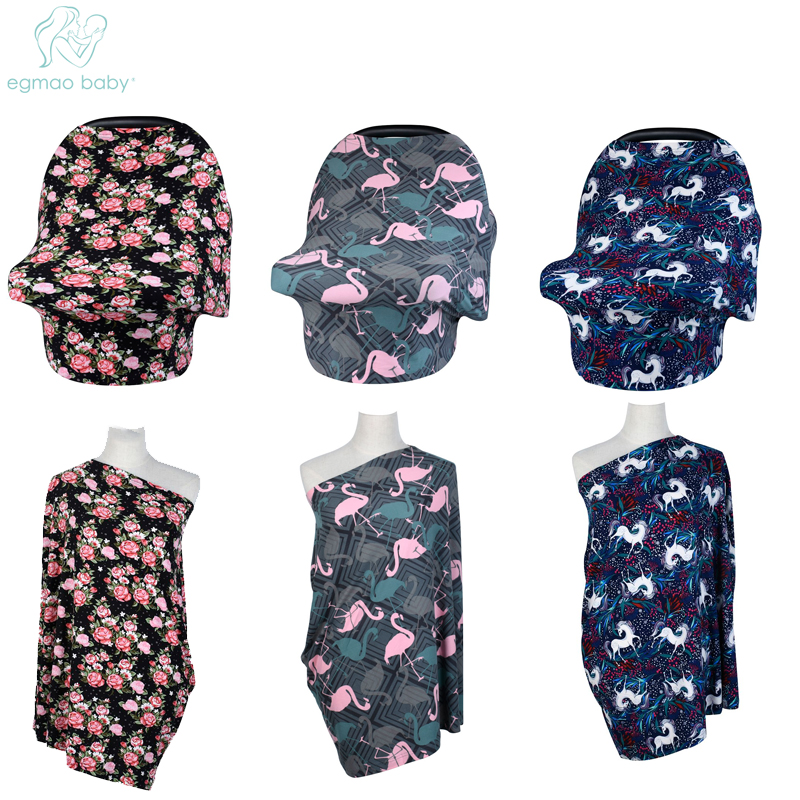 EGMAOBABY Baby Car Seat Cover Nursing Cover Car Seat Canopy Covers Multi-Use Infant Shopping Cart High Chair Stroller Shawl