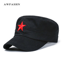 fba1d1bb60b AWFASHN 2018 red five-pointed star embroidery Military Hats black Flat top  cotton. US  3.80   piece Free Shipping