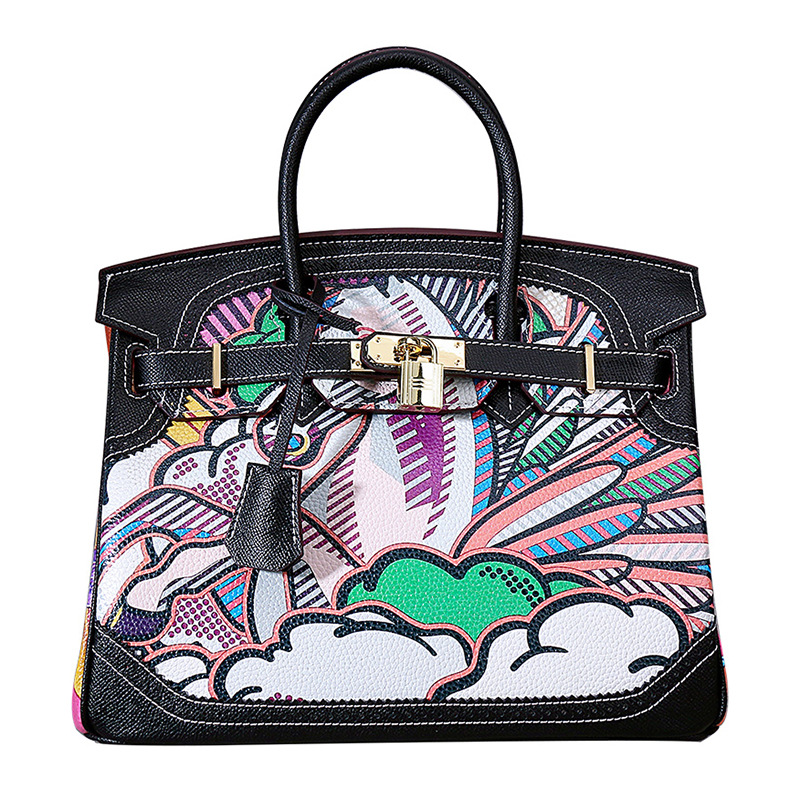 Bags for Women 2018 New Lychee Print Bag European and American Fashion Real Leather Graffiti, Single Shoulder Slanting Hand Bag american graffiti