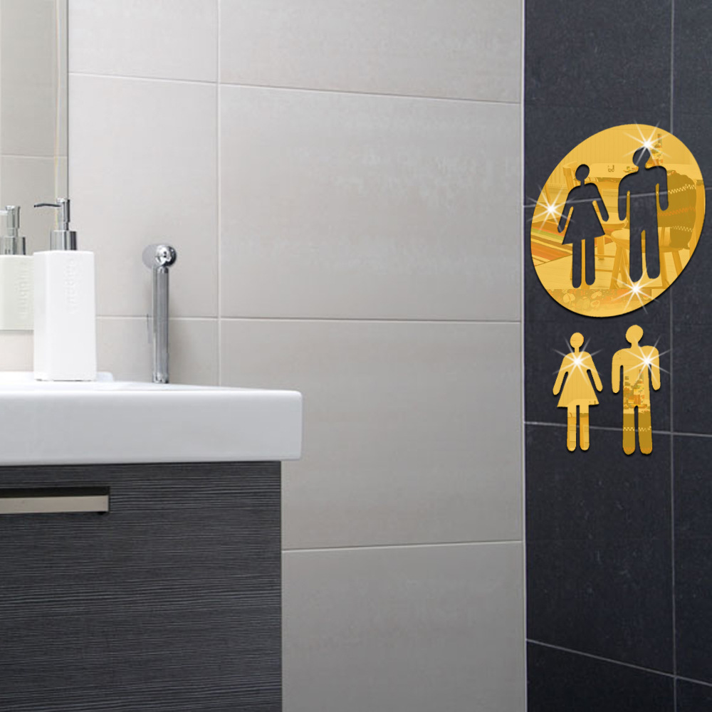 Toilet Accessories Us 1 05 20 Off Crystal Stereo Mirror Wall Stickers 3d Acrylic Sign Toilet Wc Stickers Home Attached Bathroom Toilet Accessories Home Decor Ghmy In
