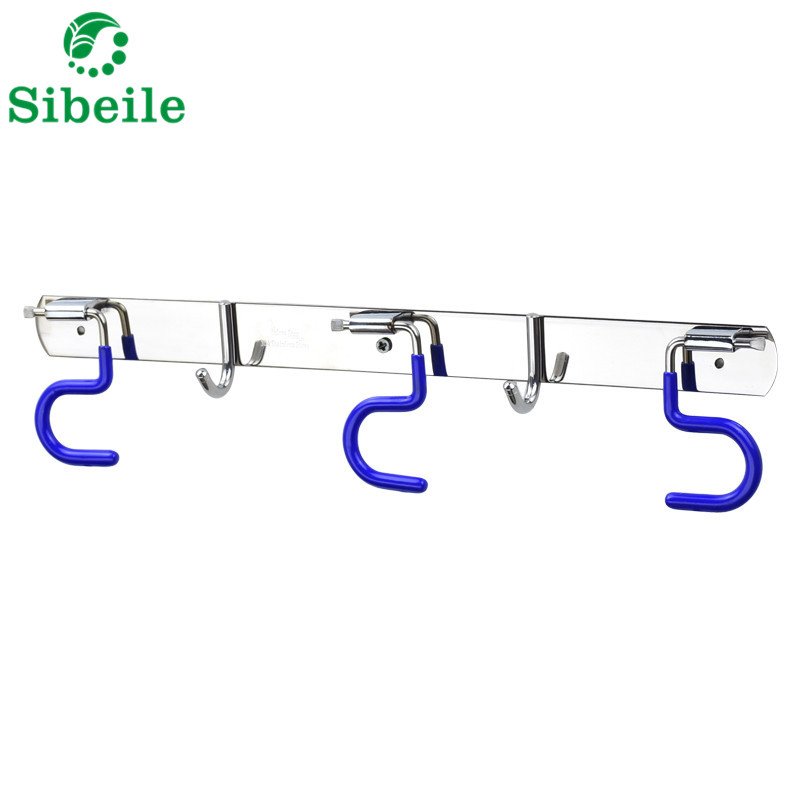 SBLE Kitchen Bathroom Organizer Rack Stainless Steel Broom Shelf Mop rack With Hooks Wall Mounted Mop Rack Broom Holder