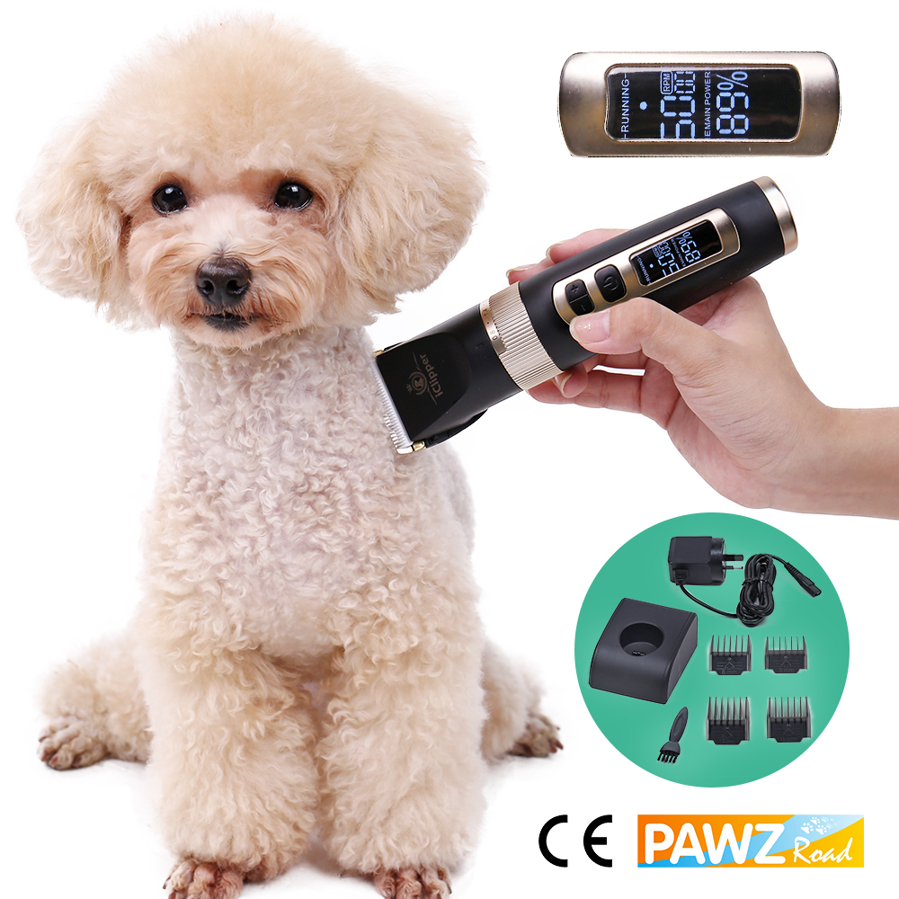 Professional Pet Hair Trimmer Mute Rechargeable Dog Cat Grooming Clipper LED Safety Speed Power Display Haircut Machine EU/US/UA