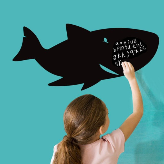 shark fish blackboard writing board wall decal home sticker paper  shark fish blackboard writing board wall decal home sticker paper removable art picture murals kid nursery
