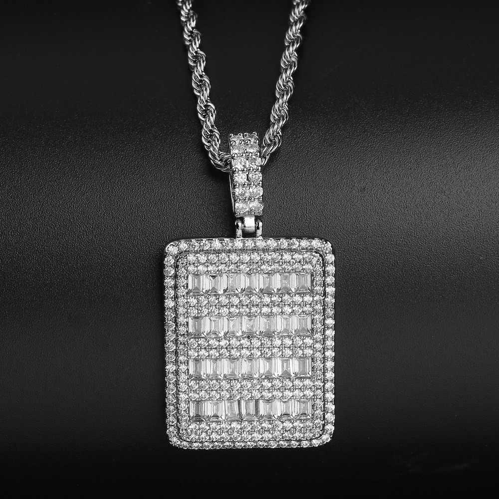 TOPGRILLZ bagietka CZ Ice Out wisiorek w kształcie gwiazdy naszyjnik mężczyzna z łańcuch tenisowy złoty srebrny kolor Hip hop biżuteria